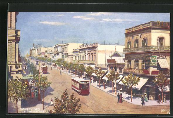 Künstler-AK Montevideo, Calle del 18 de Julia, Ortspartie mit Strassenbahn 0