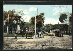 AK Montreal, St. Denis Street, Strassenpartie mit Strassenbahn
