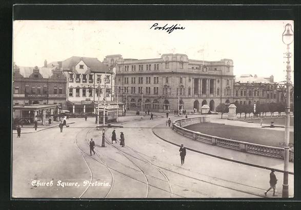 AK Pretoria, Church Square, Ortspartie mit Strassenbahn 0