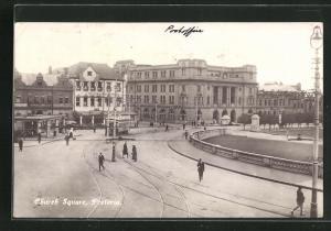 AK Pretoria, Church Square, Ortspartie mit Strassenbahn