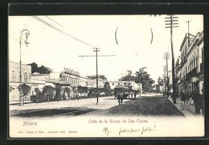 AK Mexico, Calle de la Rivera de San Cosme, Strassenpartie mit Strassenbahn