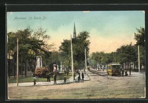 AK Montreal, St. Denis Street, Ortspartie mit Strassenbahn