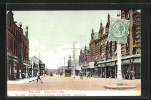 AK Pretoria, Church street east, Ortspartie mit Strassenbahn