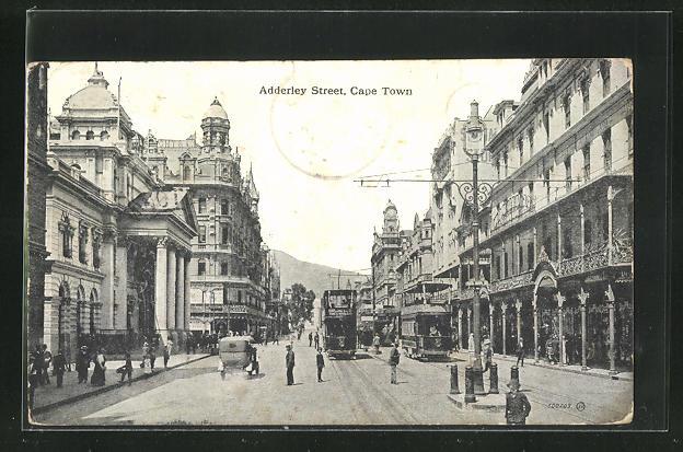 AK Cape Town, Adderley Street mit Strassenbahn 0