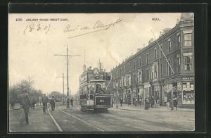 AK Hull, Anlaby road, west end, Ortspartie mit Strassenbahn