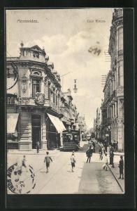 AK Montevideo, Calle Rincon, Ortspartie mit Strassenbahn
