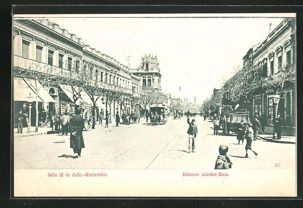 AK Montevideo, Calle 18 de Julio, Strassenpartie mit Pferdebahn 0