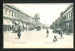 AK Montevideo, Calle 18 de Julio, Strassenpartie mit Pferdebahn