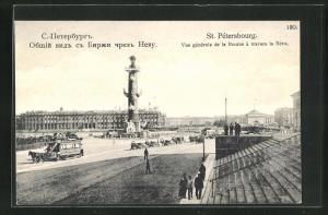 AK St. Petersbourg, Vue generale de la bourse à travers la Neva, Pferdebahn