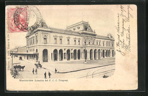 AK Montevideo, Estacion del F. C. C., Bahnhof 0