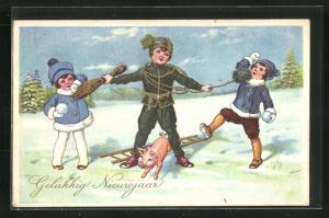 AK Schornsteinfegerjunge mit einem Jungen und einem Mädchen im Schnee, Neujahrsgruss