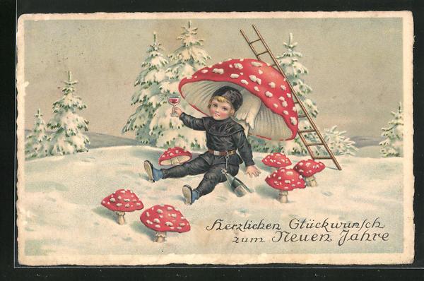 AK Schornsteinfegerjunge mit Weinglas unter einem Pilz im Schnee 0