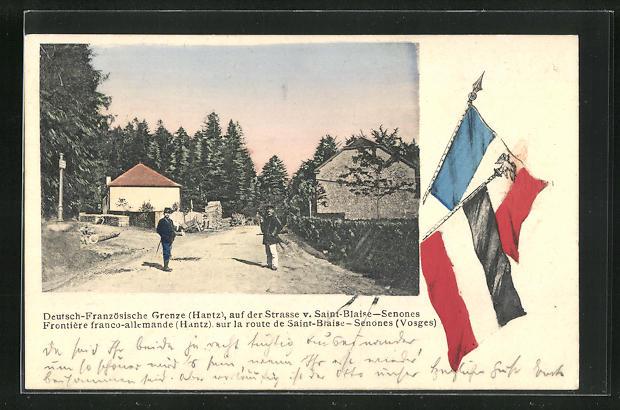 AK Saint-Blaise-Senones, Deutsch-Französische Grenze Hantz, Strassenpartie mit Soldaten in Uniformen, Flaggen 0