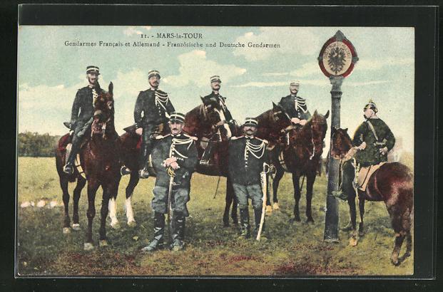 AK Mars-la-Tour, Französische und Deutsche Gendarmen, Grenze 0