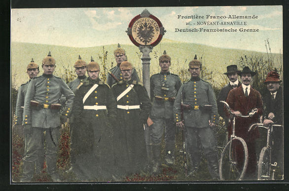 AK Noveant-Arnaville, Deutsch-Französische Grenze, Soldaten in Uniform mit Pickelhaube 0