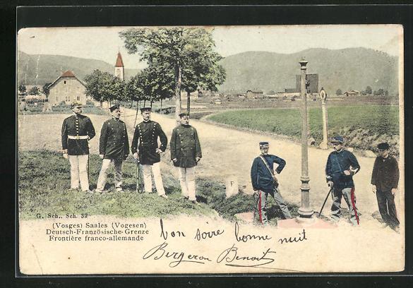 AK Saales, Deutsch-Französische-Grenze mit Soldaten in Uniformen 0