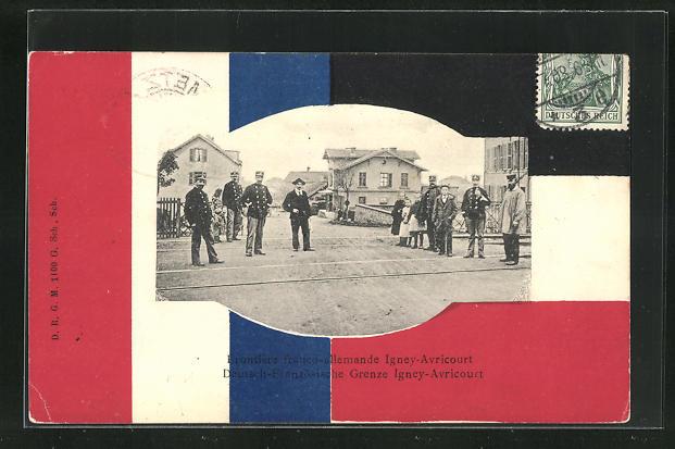 Passepartout-AK Igney-Avricourt, Deutsch-Französische Grenze mit Soldaten in Uniformen, Nationalflaggen 0