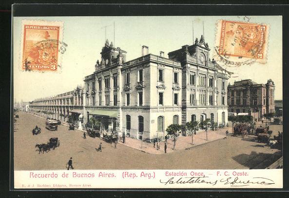 AK Buenos Aires, Estacion Once, F. C. Oeste, Bahnhof 0
