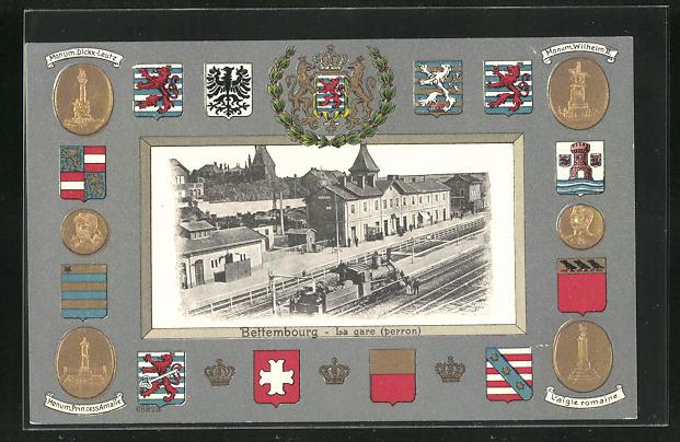 Präge-AK Bettembourg, La gare perron u. Passepartoutrahmen L`aigle romaine, Monum. Wilhelm II. u. Monum Prinzess Amalie 0