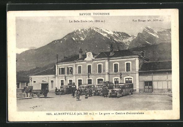 AK Albertville, La gare, Centre d`excursions, Bahnhof 0