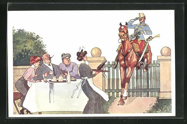 Künstler-AK Fritz Schönpflug: Soldat springt mit seinem Pferd über den Zaun einer Teegesellschaft 0