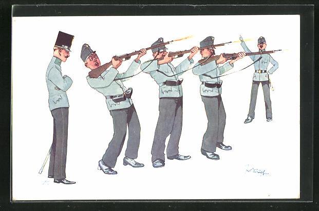 Künstler-AK Fritz Schönpflug: Soldaten beim Gewehrexerzieren 0