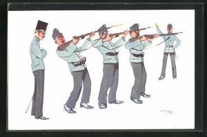 Künstler-AK Fritz Schönpflug: Soldaten beim Gewehrexerzieren