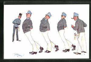 Künstler-AK Fritz Schönpflug: Soldaten beim Sport