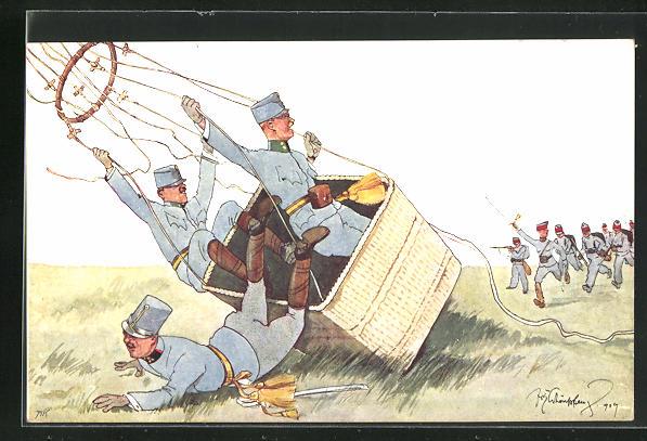Künstler-AK Fritz Schönpflug: Landung von Soldaten im Heissluftballon 0