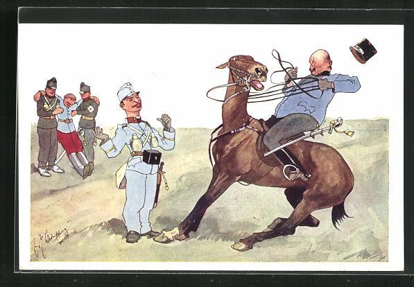 Künstler-AK Fritz Schönpflug: Soldat in Uniform auf einem scheuenden Pferd 0