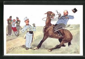 Künstler-AK Fritz Schönpflug: Soldat in Uniform auf einem scheuenden Pferd