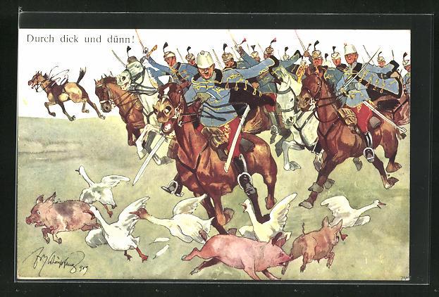 Künstler-AK Fritz Schönpflug: Durch dick und dünn, Soldaten auf Pferden verschrecken Gänse u. Schweine 0