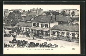 AK Tunis, La Place et la Garde du Sud, Bahnhof