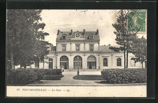 AK Fontainebleau, La Gare, Bahnhof 0