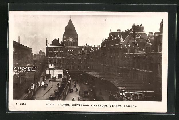 AK London, G.E.R. Station Liverpool Street, Bahnhof 0