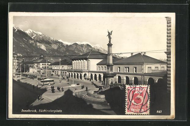 AK Innsbruck, Südtirolerplatz mit Bahnhof 0