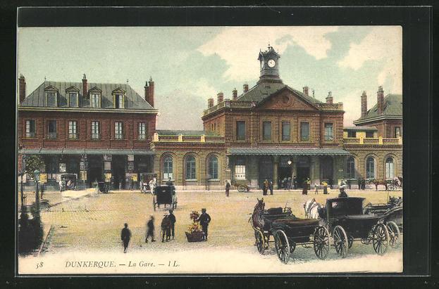 AK Dunkerque, La Gare, Bahnhof 0