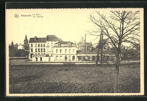 AK Dixmuide, La Gare, Blick zum Bahnhof 0