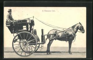 AK London, A Hansom Cab, Pferdekutsche, Taxi