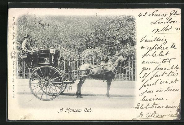 AK London, A Hansom Cab, Pferdegespann, Taxi 0