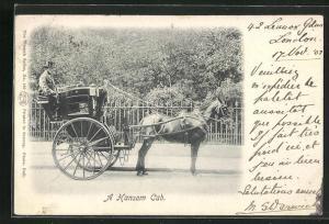 AK London, A Hansom Cab, Pferdegespann, Taxi