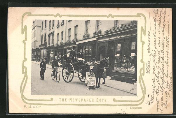 AK London, The Newspaper Boys, Zeitungsjungen 0