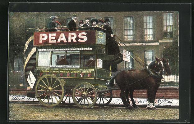 AK London, Pferdekutsche der London General Omnibus Company 0
