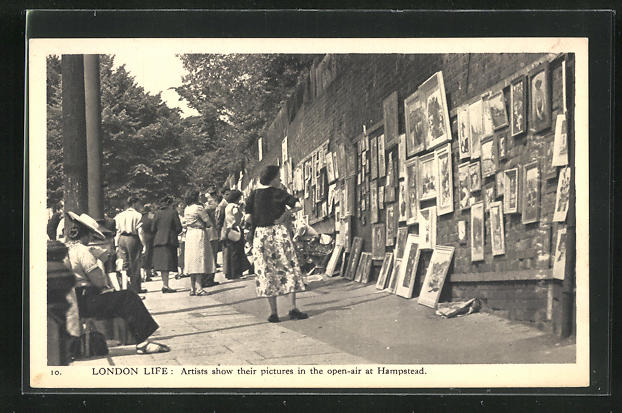 AK London Life, Artists show their pictures in the open-air at Hampstead, Strassenkünstler 0