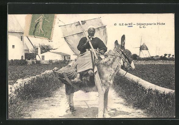 AK Ile de Ré, Départ pour la Pêche, Fischerin auf Exel 0