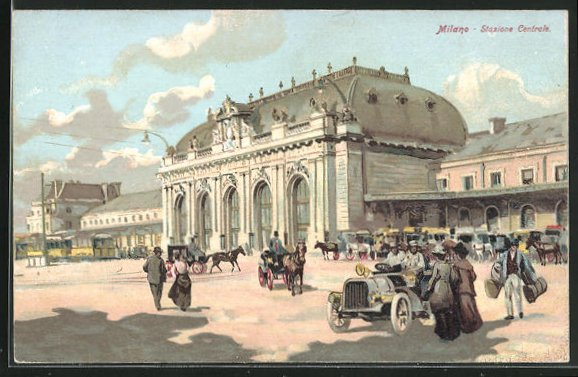 Lithographie Milano / Mailand, Statione Centrale, Bahnhof 0