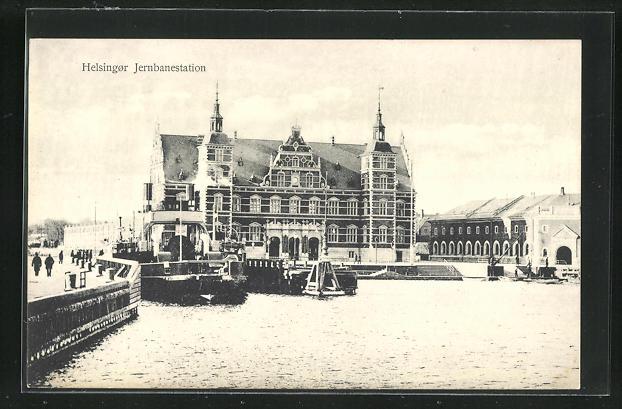 AK Helsingor, Jernbanestation, Bahnhof mit Eisenbahnfähre 0