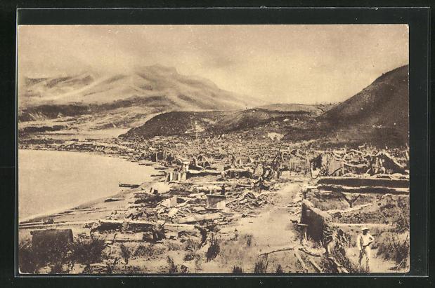 AK Saint-Pierre, après l`èruption 1902, Vulkan 0