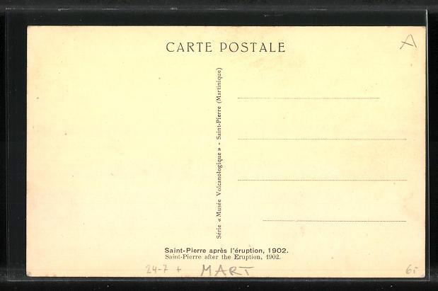 AK Saint-Pierre, après l`èruption 1902, Vulkan 1