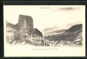 AK Saint-Pierre, Ruines de la Cathèdrale, Vulkan